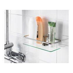 Kalkgrund Chrome Plated Shower Shelf 24x6 Cm Ikea Shower Shelves Glass Bathroom Shelves Glass Shower Shelves