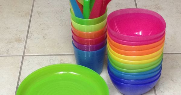 ikea kids plates  bowls  cups   u0026 flatware  love the bright colors  perfect size  u0026 dishwasher