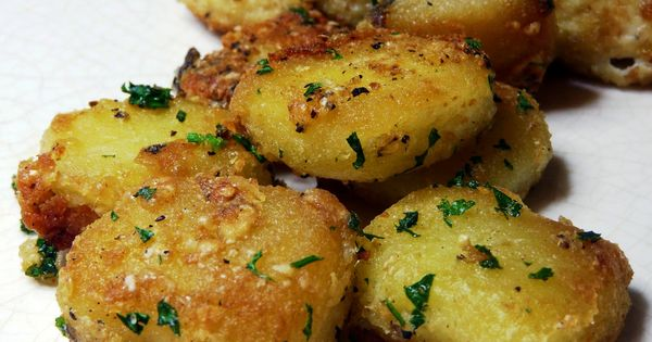 Parmesan Garlic Roasted Potatoes Recipe. Parmesan, Garlic, Potatoes. Three of my favorite