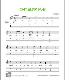 One Elephant Free Beginner Guitar Sheet Music Notation And Tab