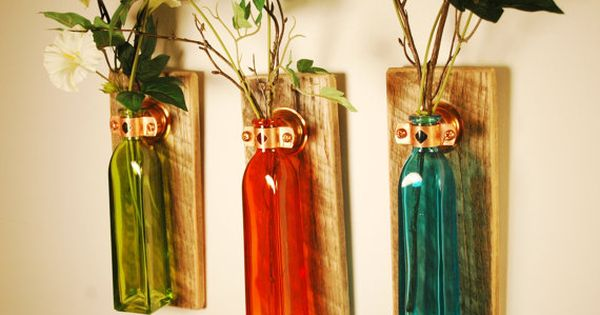 Autumn bliss collection of square colored bottles each for Colored bottles for decorations