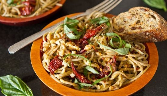 Lightened-Up Sundried Tomato Basil Pesto Pasta - Vegetarian & Vegan Recipes