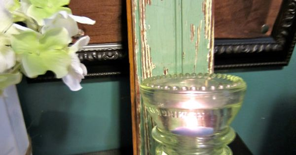 Spring Gift Idea Repurposed Vintage Glass Insulator Candle
