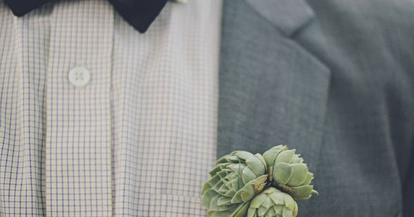 Groom - Suit / Succulent Read More: http://www.stylemepretty.com/2012/11/05/pennsylvania-engagement-wedding-from-brooke-courtney-photography/