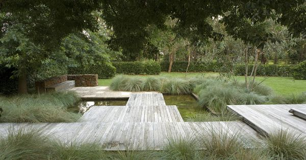 wood deck, grass and water