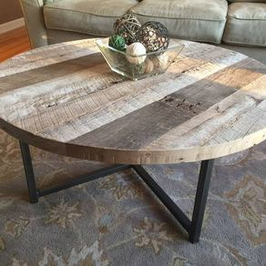 Round Reclaimed Wood Table With Metal Base By Eric Kucharczyk Coffee Table Farmhouse Reclaimed Wood Coffee Table Coffee Table Wood