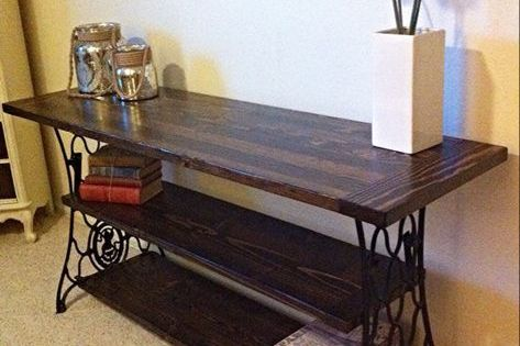 Repurposed Console Table From Antique Cast Iron Sewing