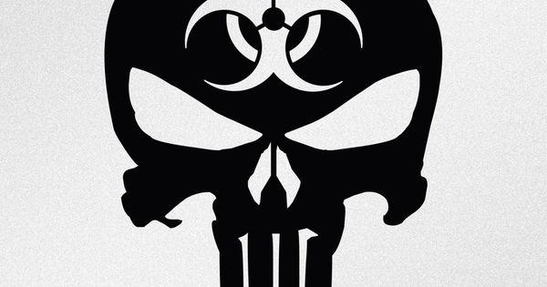 Punisher Skull Biohazard Symbol Car Body Window Bumper