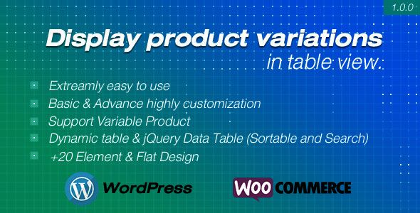 Display product variations in table for WooCommerce | Data