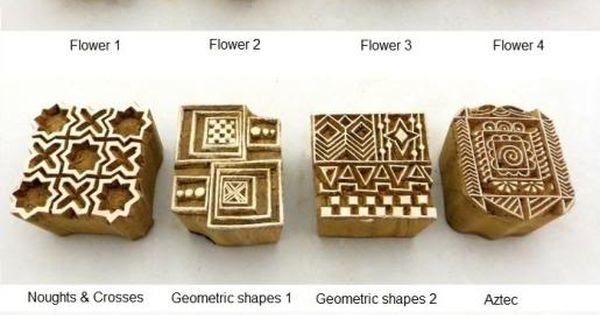 Hand carved wooden block printed indian stamps wood