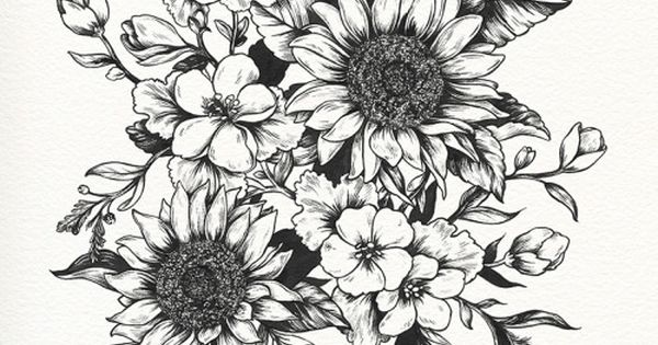 black and white sunflower tattoos - Google Search | Love ...