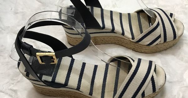 8754a15d3e8 Tory burch karissa canvas espadrille navy gold These striped canvas  espadrille wedges feature crisscross straps at the vamp and a buckled  leather s…
