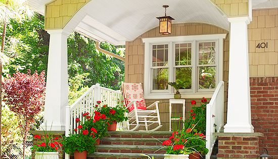 Front porch. Love this. I've always LOVED the bungalow-type house or Craftsman