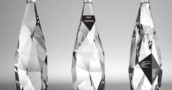 Crystal glass bottles. Beautiful examples of creative packaging design. Minimalistic labelling. The