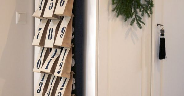 Advent Calendar~Love the idea of using lunch bags and hanging them up.