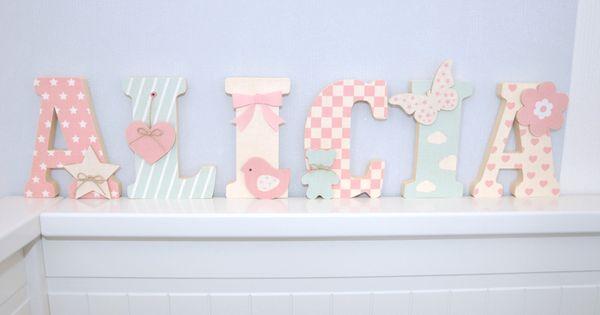 lettre en bois et tissu pour chambre de fille et b b pr nom lily babychou pinterest. Black Bedroom Furniture Sets. Home Design Ideas