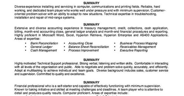Sample Summary Statements - Resume Workshop -   resumesdesign