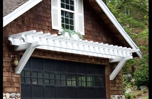 pergola/ window idea / black garage door