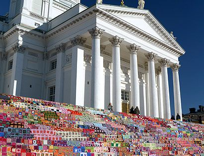 Granny Squares on the Cathedral steps in Helsinki, Finland. Peter Norris of