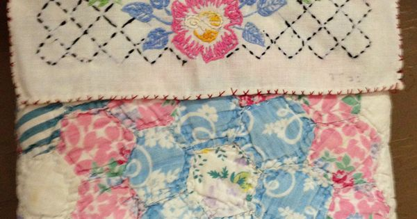 Pillow using vintage embroidered linen and old quilt piece