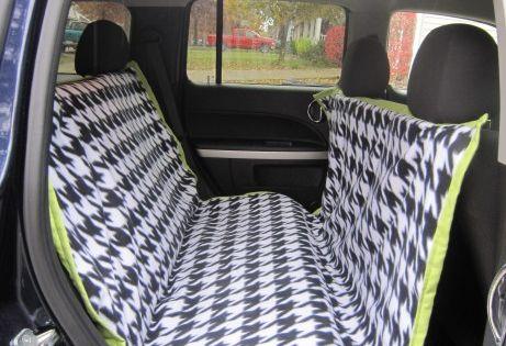 DIY car seat cover for dogs, hammock style keeps them from jumping