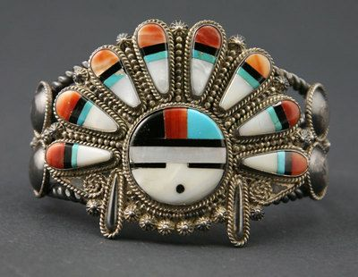 Zuni Bracelets Zuni Multi Stone Inlay Sun God Bracelet Southwestern Style Jewelry American Indian Jewelry Zuni Jewelry