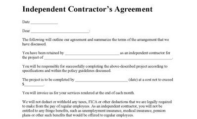 Independent Contractor Agreement Contractor Agreement Contract