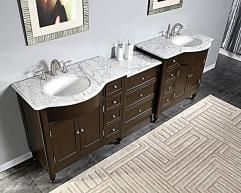 95 Inch Modern Double Bathroom Vanity With White Marble Double Vanity Bathroom Bathroom Vanity Marble Vanity Tops