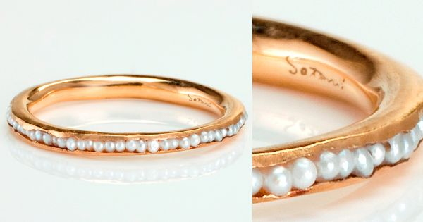 Tiny tiny fresh water pearl ring. In rose gold for my wedding