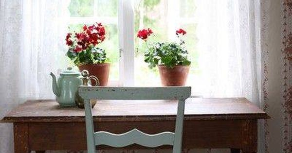 Writing Desk Near Window Plus Flowers House Love