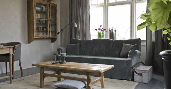 Woonkamer landelijke stijl met kalkverf van pure and original verlichting van tierlantijn - Sofa landelijke stijl stijlvol ...