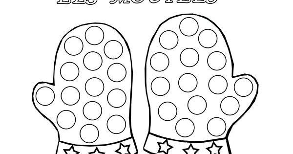 coloriage à gommettes les moufles dessiné par nounoudunord