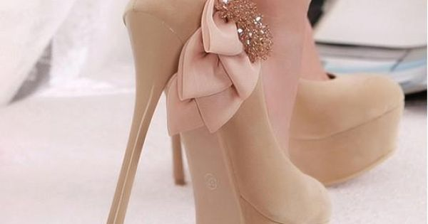 Glam it up wid bow Nude Heels >