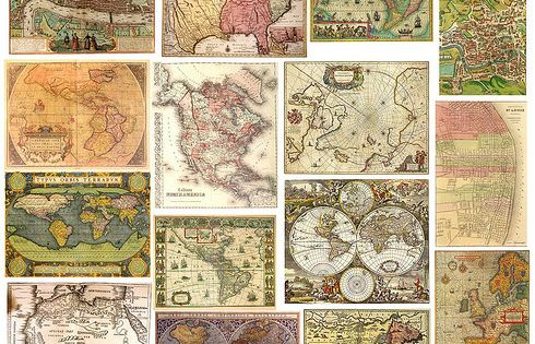 Free, printable sheets of vintage maps, Valentine's Day cards, flowers, etc. LOVE