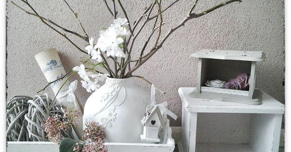 Kleine bolle vaas bloemen van kant er op plakken en in n kleur verven zelfmaak idee n - Deco kleur muur decoratie ...