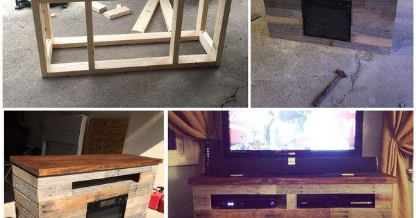 Diy electric fireplace tv stand entertainment center for Diy pallet tv stand instructions