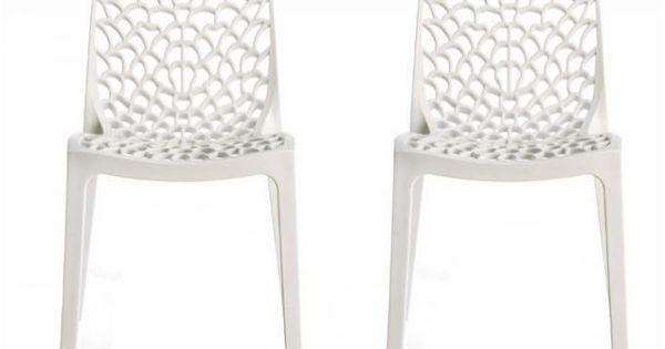 lot de 2 chaises design blanche gruyer opaque | deco, 'salem's lot ... - Chaise Blanche Design Pas Cher