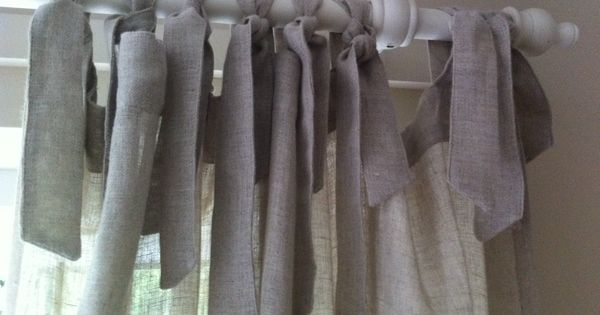 linen tie top curtains in 39 natural 39 la redoute windows pinterest. Black Bedroom Furniture Sets. Home Design Ideas