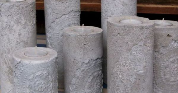 Lace cement candle holders crafts plaster grout mix for Craft cement mix