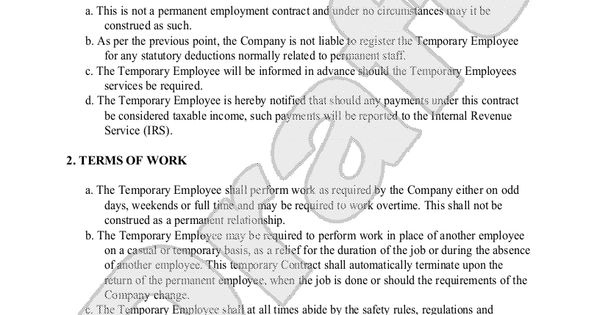 sample temporary employment contract form template