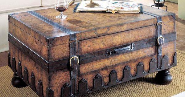 Old World Map Trunk Coffee Table Flea Market Flip