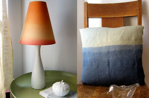 Dip dye lamp shade and pillow