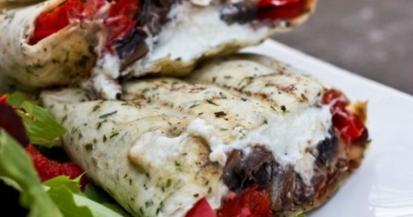 Grilled Portobello Mushroom, Roasted Red Bell Pepper, Goat Cheese Wrap ...