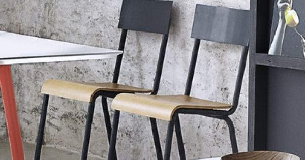 lot de 2 chaises m tal style colier school gris 3
