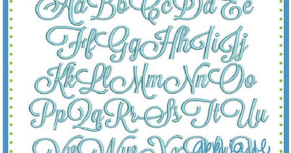 Sunday script embroidery font in bx dst jef and pes