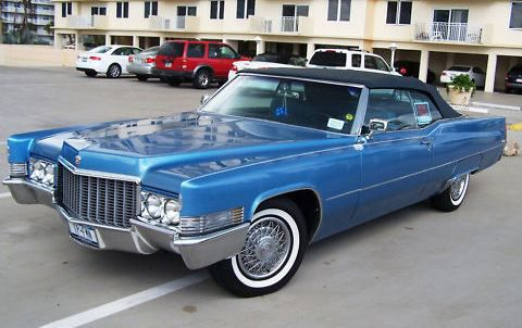 1970 Cadillac deville convertible with blue paint and white