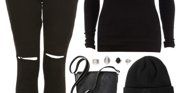 all black grunge outfit. chunky boots, beanie, ripped jeans// PERFECT for school