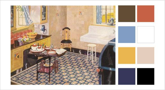 This 1930 Kitchen Uses A Triadic Red Yellow And Blue