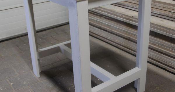 Bartafel sam steigerhout landelijk wit 80 cm breed hills home steigerhouten meubels - Cuisin e met bartafel ...