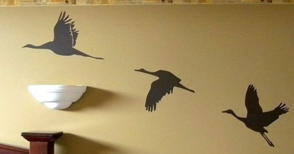 Flying Crane Vinyl Wall Decal Set By Michellechristina On